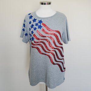Quacker Factory Med American Flag Sequin Top NWT